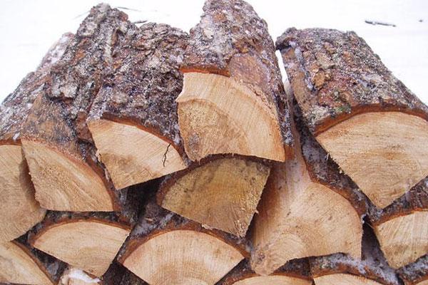 Поленница сосновых дров для отопления частного дома