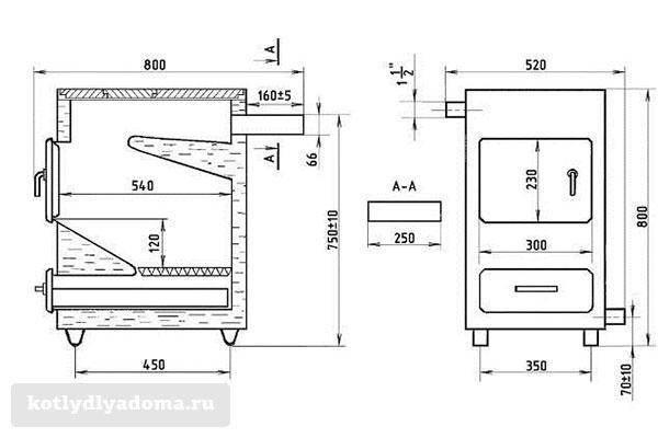 Чертеж конструкции отопительного котла «Каракан»