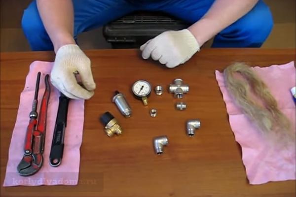 Набор блоков и инструментов для изготовления самодельной группы безопасности