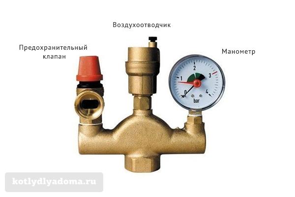 Конструкция группы безопасности для котла и системы отопления